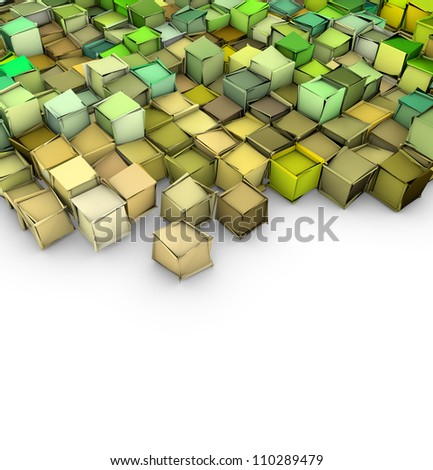 abstract 3d shape backdrop in green yellow on white