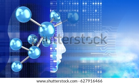 abstract 3d sky background with molecule model head silhouette and hexadecimal code #627916466