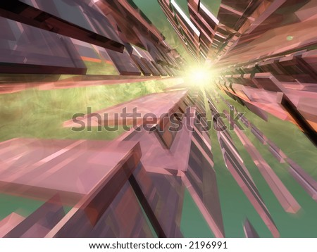 Abstract 3d Space with smoke and sun