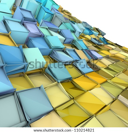 abstract 3d wave shape backdrop in yellow and blue - stock photo