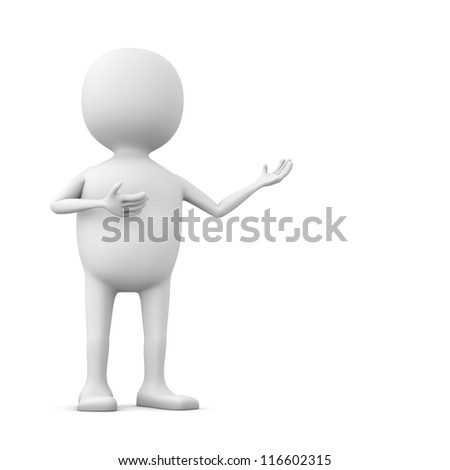 Abstract 3D white man showing something with copy space.