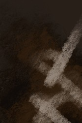Abstract dark background. Large strokes of paint on a rough texture. Grunge abstraction. Painting on a rough canvas. Dark brown rough texture. Grunge art. Painting on the wall.