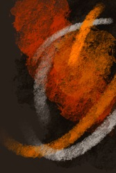 Abstract dark background. Large yellow, orange, white paint strokes on a rough texture. Grunge abstraction. Painting on a rough canvas. Dark brown rough texture. Grunge art. Painting on the wall.