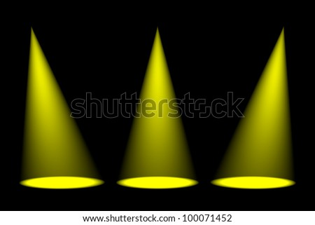 Abstract dark background with bright colorful stage spotlights