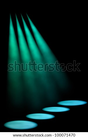Abstract dark background with bright stage spotlights