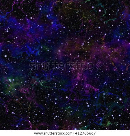 Abstract dark blue universe. Glittering night starry sky. Colorful nebula outer space. Galactic texture background. Seamless illustration.