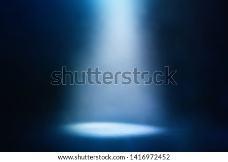abstract dark concentrate floor scene with mist or fog, spotlight and display #1416972452