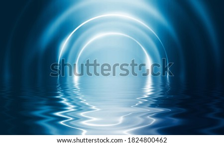 Abstract dark futuristic background. Blue neon light rays reflect off the water. Background of empty stage show, beach party. 3d illustration Сток-фото ©