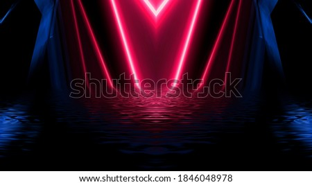 Abstract dark futuristic background. Ultraviolet multicolored beams of neon light reflect off the water. Background of empty stage show, beach party. 3d illustration Сток-фото ©