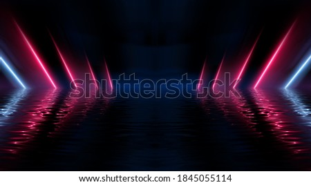 Abstract dark futuristic background. Ultraviolet neon light rays are reflected off the water. Background of empty stage show, beach party. 3d illustration Сток-фото ©