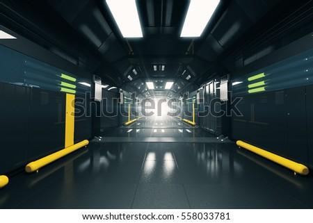 Foto mural Abstract dark futuristic corridor interior. 3D Rendering