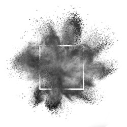 Abstract dark gray powder splash or explosion in a square frame on a white background, copy space.
