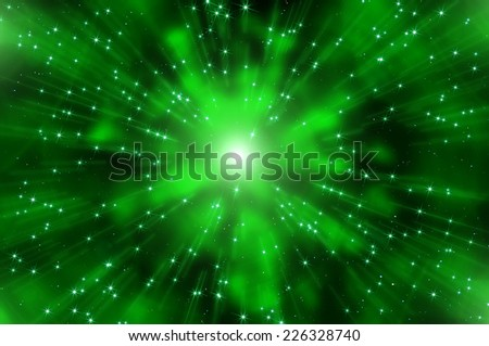 Abstract dark green space background with nebulas, stars and star trails