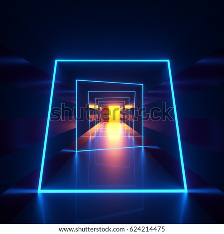 Stock Photo Abstract dark hallway with blue neon loops or frames of luminaries crossing the walls and a floor and yellow lighting. 3d rendering illustration of an interior space and modern architectural lights