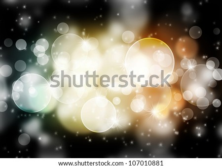 Abstract dark image with bokeh and glowing lights