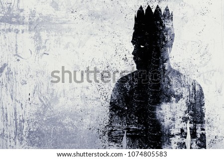 Abstract dark king sketch on textured concrete wall background #1074805583