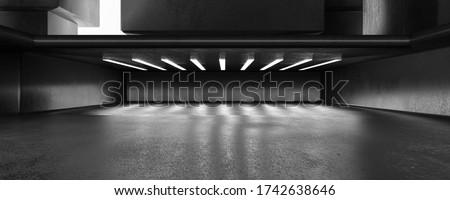 abstract dark modern futuristic city concrete building light technlogy basement design 3d background illustration rendering Foto stock ©
