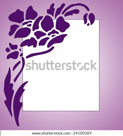 White Flower on Purple Silhouette Flower Clip Art Stencil Design On A Gradient White