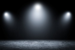 Abstract dark room studio wall background and display your product.Gray empty show product.
