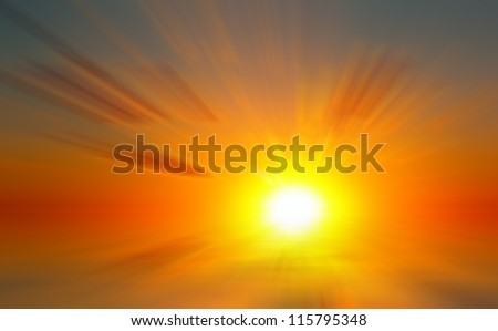 Abstract dawn on the sea. The rising sun on the sea background #115795348