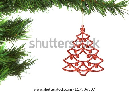 Abstract decoration on the Christmas tree. On a white background.