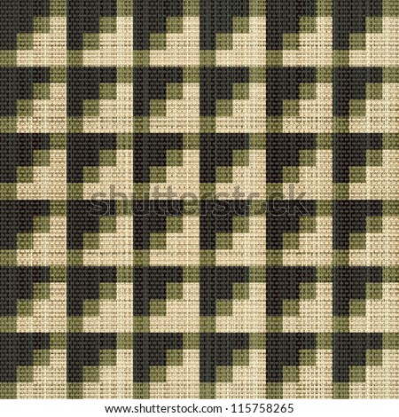 Abstract decorative canvas textured geometric illusion background. Seamless pattern. Illustration.