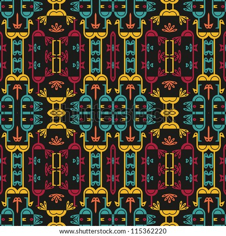 Abstract decorative colorful psychedelic kaleidoscopic birds. Seamless pattern. Illustration.