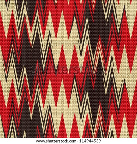 Abstract decorative herringbone zig zag shapes print on textured linen canvas fabric background. Seamless pattern. Illustration.