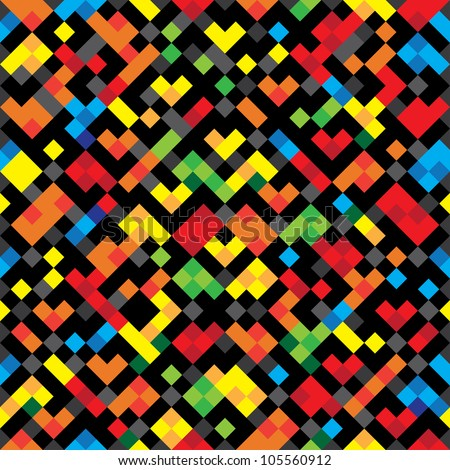 Abstract decorative pixels colorful texture. Seamless pattern. Illustration. Raster version.