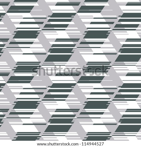 Abstract decorative urban geometric illusion print background. Seamless pattern. Illustration.