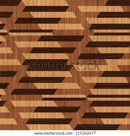 Abstract decorative wooden striped textured geometric illusion. Seamless pattern. Illustration.