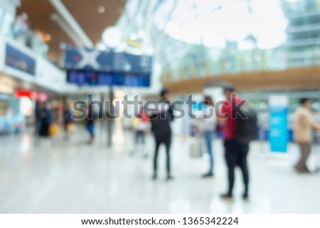 Abstract Defocus Motion Blurred in Airport Terminal, Travelers Tourist Waiting at Boarding Gate Before Departure. #1365342224