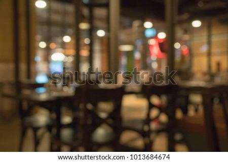 Abstract defocused bokeh in western restaurant. Modern style. #1013684674