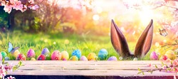 Abstract Defocused Easter Scene - Ears Bunny Behind Grass And Decorated Eggs In Flowery Field