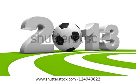 Abstract demonstration of soccer in 2013 - 3d Rendering