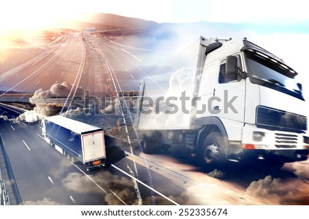 Abstract design background Trucks and transport.Highway and delivering.