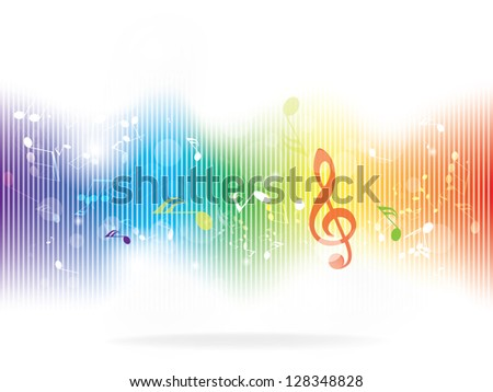 Abstract design background with colorful music notes