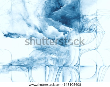 Abstract design made of bursting strands of fractal smoke and paint on the subject of design, science, technology and creativity