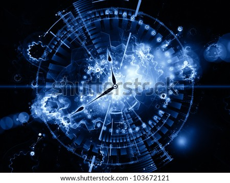Abstract design made of clock hands, gears, lights and numbers on the subject of time sensitive issues, deadlines, scheduling, computational processes, digital technologies, past, present and future