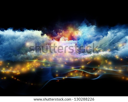 Abstract design made of clouds of fractal foam and abstract lights on the subject of art, spirituality, painting, music , visual effects and creative technologies