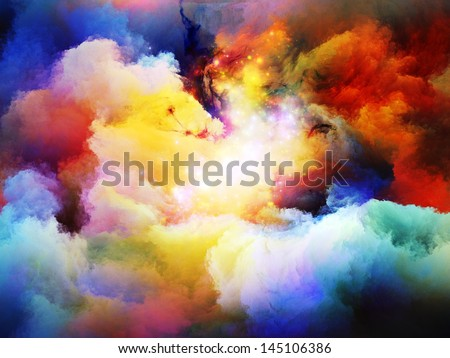 Abstract design made of dreamy forms and colors on the subject of dream, imagination, fantasy and abstract art