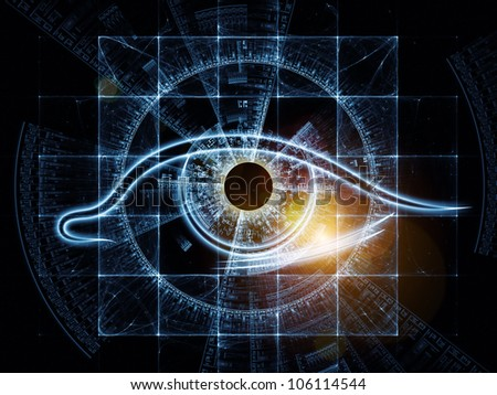 Abstract design made of eye outlines, fractal and abstract design elements on the subject of modern technologies, mechanical progress, artificial intelligence, virtual reality and digital imaging