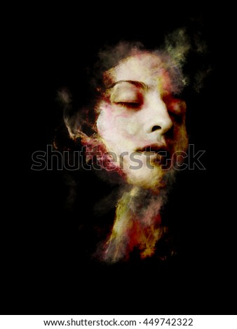 Stock Photo Abstract design made of fractal smoke and female portrait on the subject of spirituality, imagination and art
