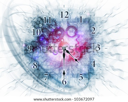 Abstract design made of gears, clock elements, dials and dynamic swirly lines on the subject of scheduling, deadlines, progress, past, present and future