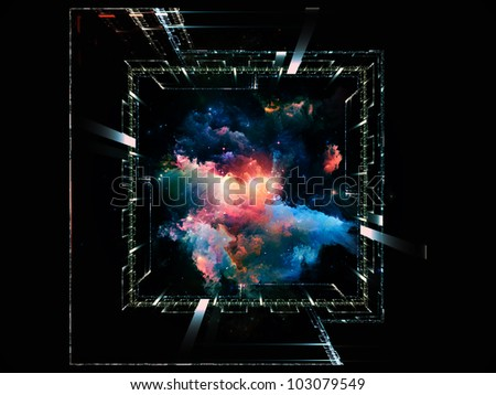 Abstract design made of grids, lights, mathematical line patters and fractal nebulae on the subject of math, science, theoretical physics  and modern technologies