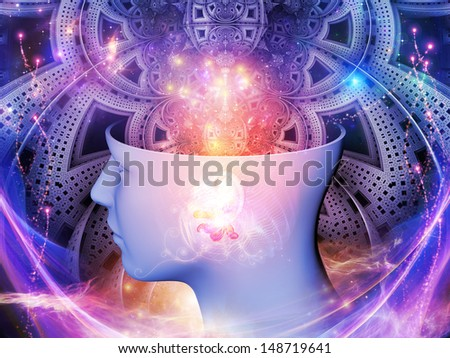 Abstract design made of human head and symbolic elements on the subject of human mind, consciousness, imagination, science and creativity