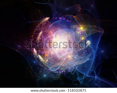 Abstract design made of lights, fractal flames and abstract elements on the subject of technology and design
