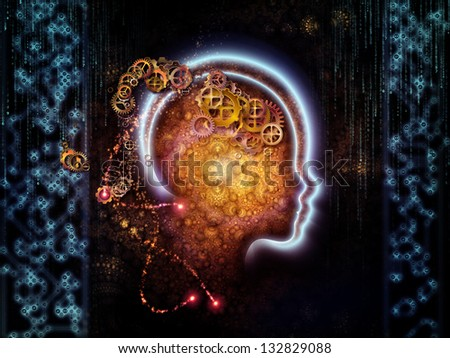 Abstract design made of lines of human head, fractal grids and technology related symbols on the subject of artificial intelligence, science, education and technology