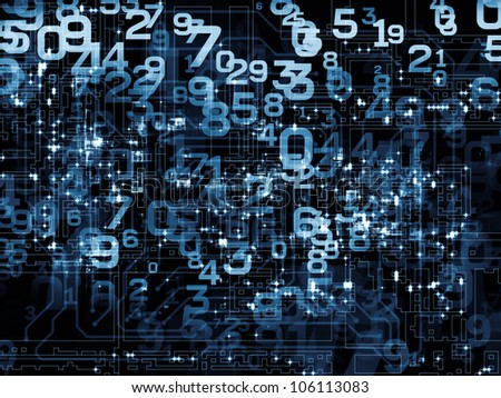 Abstract design made of numbers on the subject of modern computing, digital worlds and information processing