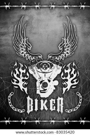 abstract design motorcycle grunge poster